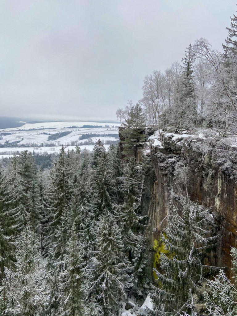 Szlak momentami prowadzi wzdłuż samej krawędzie Urwiska Batorowskiego, które ma około 30 metrów wysokości