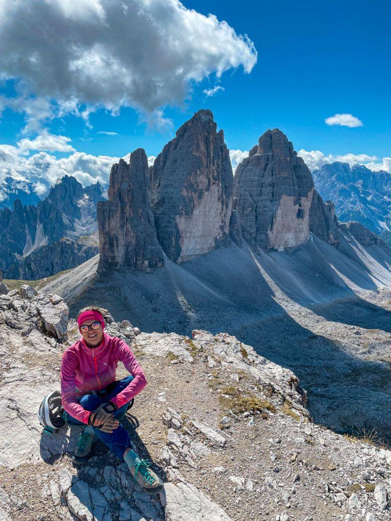 Ewa na szczycie Monte Paterno, a w tle Tre Cime di Lavaredo