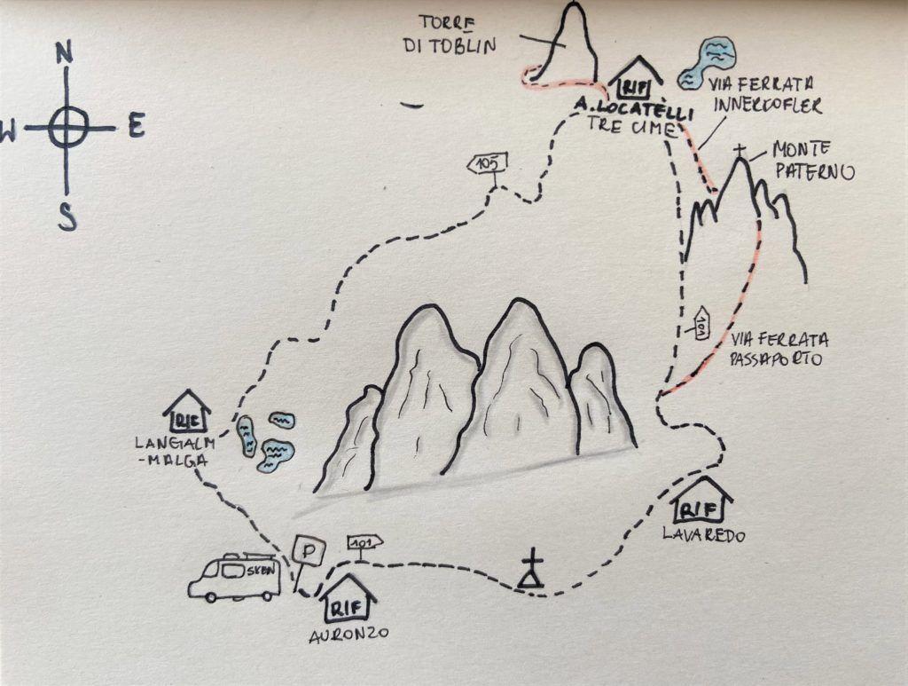 Mapa poglądowa Tre Cime di Lavaredo z zaznaczonymi szlakami